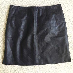 Dark Blue Leather Mini Skirt Kenneth Cole